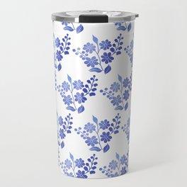 Blue floral pattern 3 Travel Mug