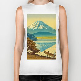 Japanese Woodblock Print Vintage Asian Art Colorful woodblock prints Mount Fuji Biker Tank