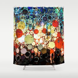 Contemporary Blue Orange Bubble Abstract Shower Curtain