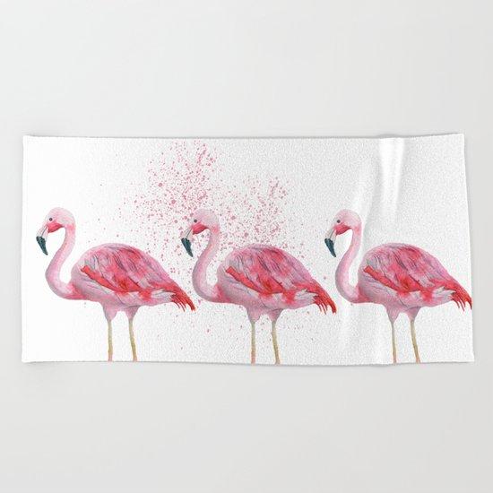 Three Flamingos #society6 Beach Towel