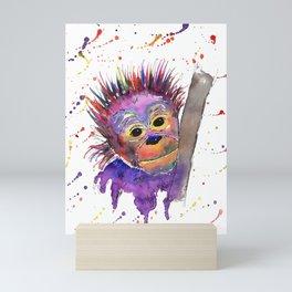 Flinty the Purple Baby Orangutan Mini Art Print