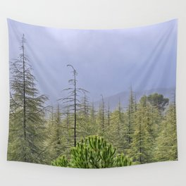 Foggy and rainy sunrise at the mountains.... Wall Tapestry