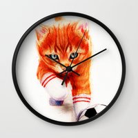 soccer Wall Clocks featuring Soccer Kitty by Isaiah K. Stephens