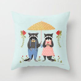 Petter the raccoon is going on a date. Throw Pillow