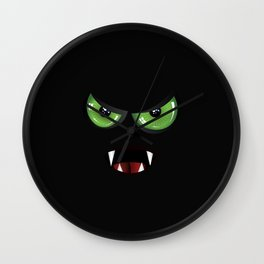 Evil face with green eyes Wall Clock