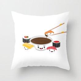 Cute Adorable Sushi Family Kawaii Japanese Sashimi Maki Nigiri Lover Gift Throw Pillow