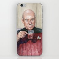 picard iPhone & iPod Skins featuring Captain Picard Earl Grey Tea   Star Trek Painting by Olechka