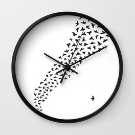 Flock of Birds // black Wall Clock