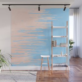 Carefree - Sweet Peach Coral Pink on Blue Raspberry Wall Mural