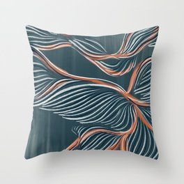 Teal & Peach Coral Throw Pillow