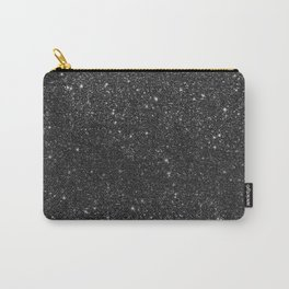 Modern chic elegant trendy faux black glitter Carry-All Pouch