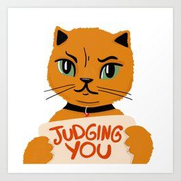 Cute Judgemental Ginger Illustrated Cat, quietly judging your life choices Art Print