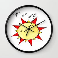 you are my sunshine Wall Clocks featuring Sunshine  by BriannaCamp