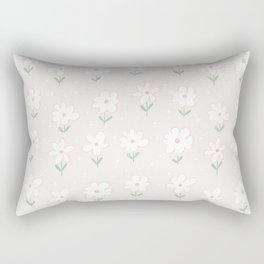 Hand painted blush pink white floral polka dots illustration Rectangular Pillow