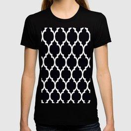 Moroccan Black and White Lattice Moroccan Pattern T-shirt