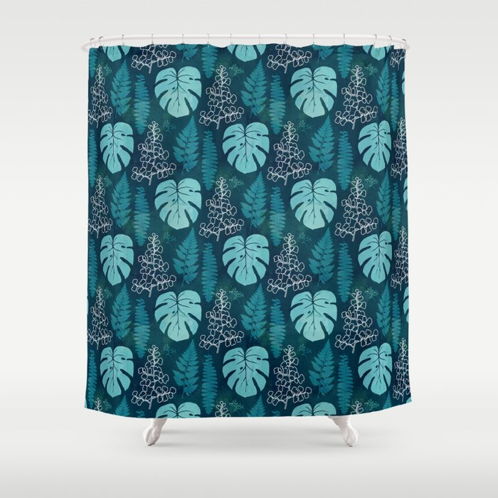 Tropical Leaves On Dark Green Shower Curtain