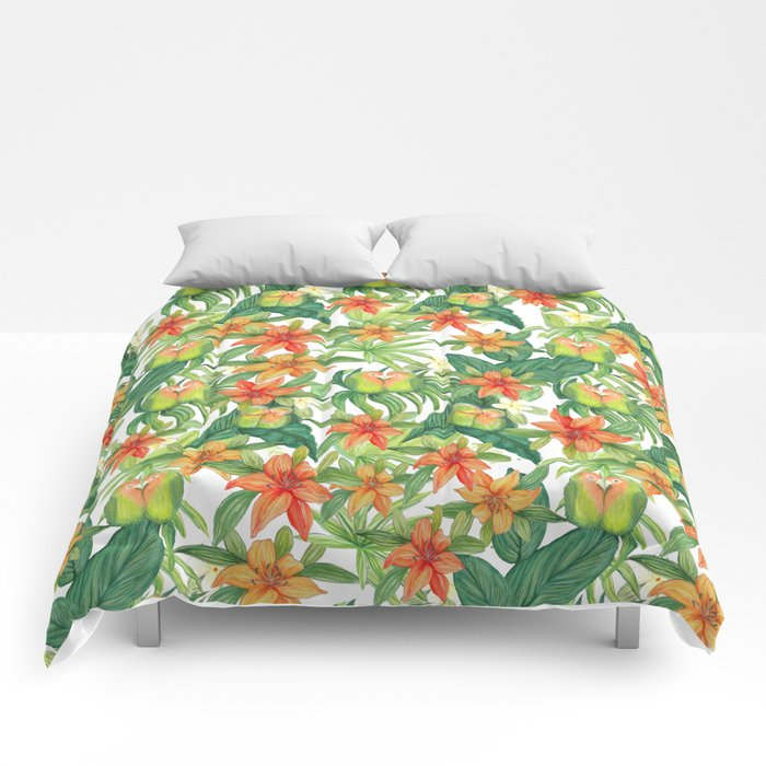 Jungle Tropical Watercolor Greenery Botanical Comforters