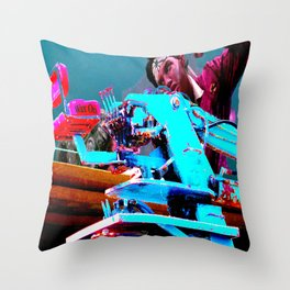 Quick!  Engage the Wax Machine! Throw Pillow
