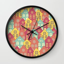 Houses on Hilltops Wall Clock