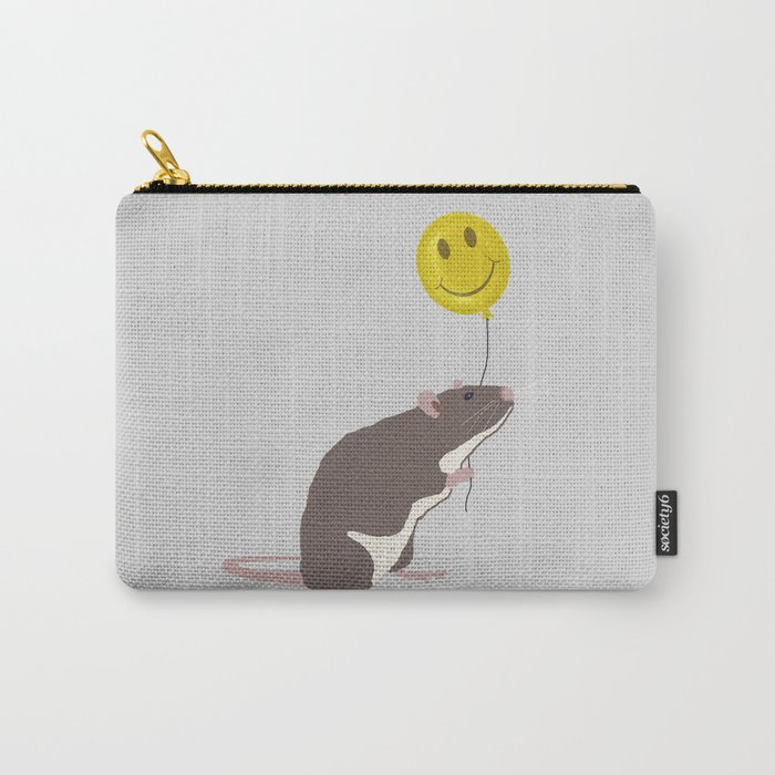 Rat with a Happy Face Balloon Carry-All Pouch