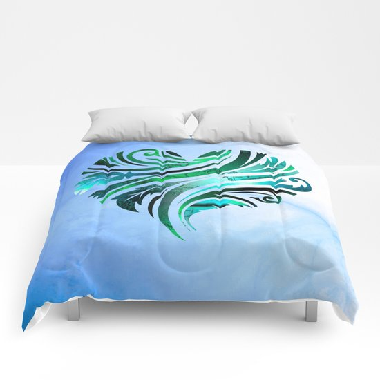 Cheerful Heart (blue-green) Comforters
