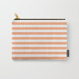 Cantaloupe and White Stripes Carry-All Pouch