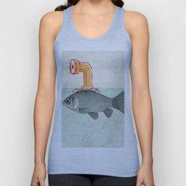 Goldfish with a Shark Fin Unisex Tank Top