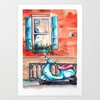 vespa Art Prints featuring Vespa by Alla Lsk