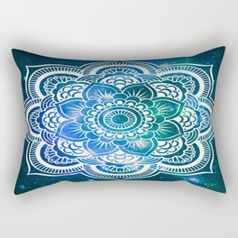 Mandala : Blue Green Galaxy Rectangular Pillow