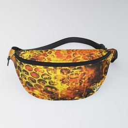 bees fill honeycombs in hive splatter watercolor Fanny Pack