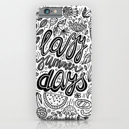 Lazy Summer Days Black And White Poster iPhone Case