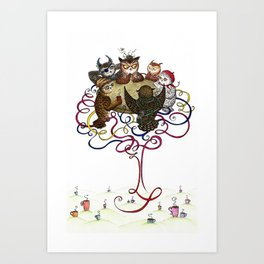 Art School Owl Assembly Art Print