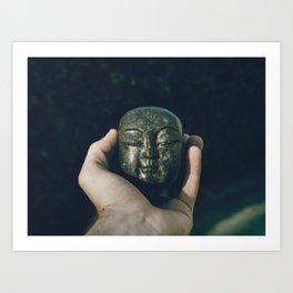 buddha head in hand Art Print