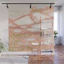 Marble - Rose Gold Shimmer Marble with Yellow Gold Glitter Wall Mural