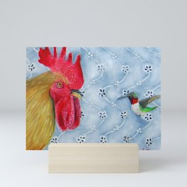 Humm and Peck Rooster Hummingbird Painting Mini Art Print