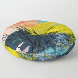 Adventurer: A vibrant abstract mixed-media piece in pink yellow and green by Alyssa Hamilton Art Floor Pillow