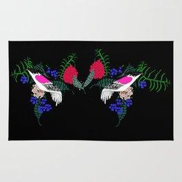 Sgraffito Birds - Bright Fuchsia Botanical Birds and Flowers Rug