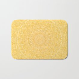 The Most Detailed Intricate Mandala (Mustard Yellow) Maze Zentangle Hand Drawn Popular Trending Bath Mat