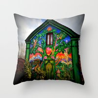 hippy Throw Pillows featuring house hippy by  Agostino Lo Coco