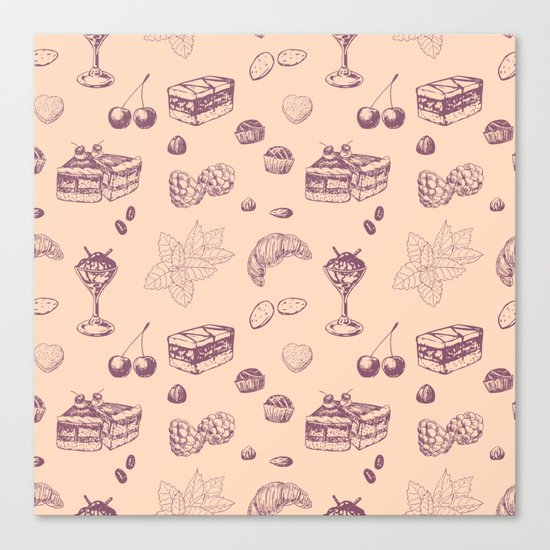 Sweet pattern with various desserts. Canvas Print