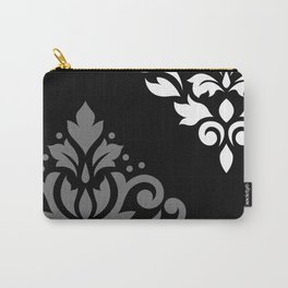 Scroll Damask Art I Black Grey White Carry-All Pouch
