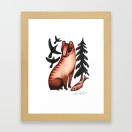 Black Bear, Red Heart Framed Art Print