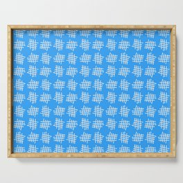 Antic pattern 28- grid or rack - blue Serving Tray
