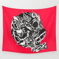 moustache Wall Tapestries featuring Skull Moustache by Vasco Vicente