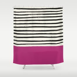 Raspberry x Stripes Shower Curtain