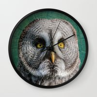 grey Wall Clocks featuring GREY OWL by Catspaws