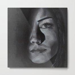 Black and white elegant monochrome female portrait. Dark portrait. Metal Print