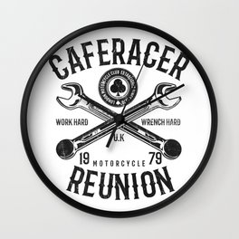 Cafe Racer Reunion Vintage Tools Poster Wall Clock
