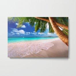 Coconut Tree on the Beach Metal Print