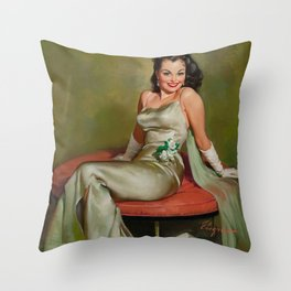 Pin Up Girl in Pretty Satin Dress Throw Pillow